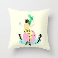 mermaid Throw Pillows featuring mermaid by Alba Blázquez