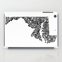 maryland iPad Cases featuring Typographic Maryland by CAPow!