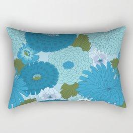 Retro Blue Floral Pattern Rectangular Pillow