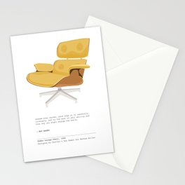 Midcentury Eames Lounge Chair - Goldenrod Art Print with Quote Stationery Cards