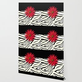 Animal Print Zebra Black and White and Red flower Medallion Wallpaper