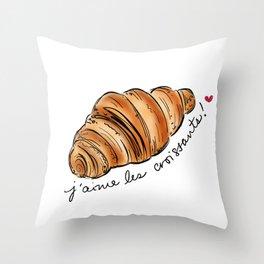 J'aime les croissants! Throw Pillow