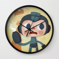 megaman Wall Clocks featuring Megaman by Peerro
