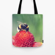 Bumble Bee on a Red Blossom Tote Bag