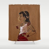 warrior Shower Curtains featuring Warrior by Judith Chamizo