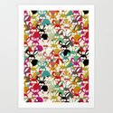 Colored  Easter bunny seamless pattern by happyplum