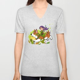Corgi and Fairy - purple ver Unisex V-Neck