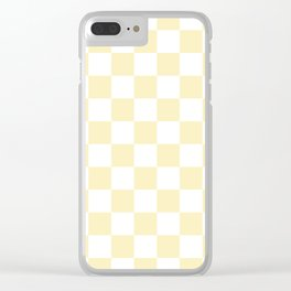Checkered - White and Blond Yellow Clear iPhone Case