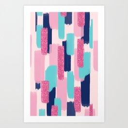 Navy and Pink Glitter Brush Strokes Art Print