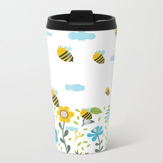 Bee Flaying Metal Travel Mug