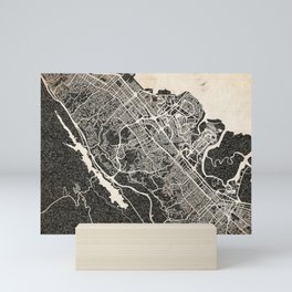 San Mateo map California Ink lines Mini Art Print