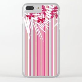 Red butterflies and pink striped leaves on a white background . Clear iPhone Case