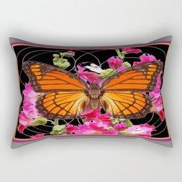 Regal Monarch Butterfly Fuchsia Floral Grey Abstract Rectangular Pillow