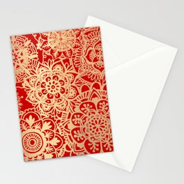 Red and Gold Mandala Pattern Stationery Cards