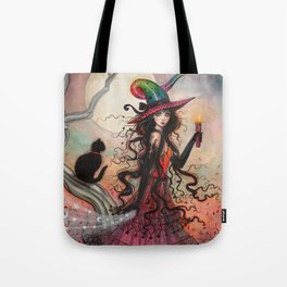 October Flame Halloween Witch and Black Cat Illustration Tote Bag
