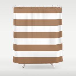 Café au lait - solid color - white stripes pattern Shower Curtain