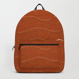 SHARK WHALE WAVES ORANGE Backpack