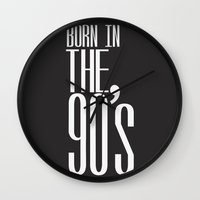 90s Wall Clocks featuring  Born in the 90s by Sara Eshak
