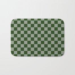 Large Dark Forest Green Checkerboard Pattern Bath Mat