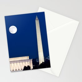 Harvest Moon rising over Washington DC Stationery Cards