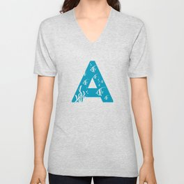 A is for Angelfish - Animal Alphabet Series Unisex V-Neck
