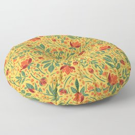 Yellow, Orange, Red, & Teal Light Floral Pattern Floor Pillow