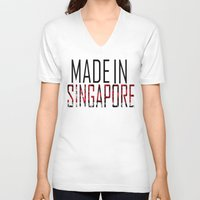 singapore V-neck T-shirts featuring Made In Singapore by VirgoSpice