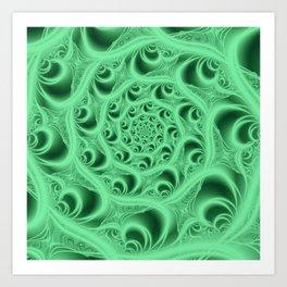 Fractal Web in Flourescent Green Art Print