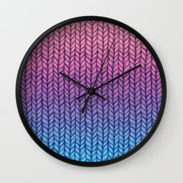 Chunky Knit Pattern in Pink, Blue & Purple Wall Clock