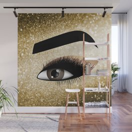 Gold Lashes Eye Wall Mural