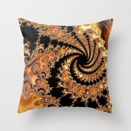 Toffee and Caramel Golden Brown Spiral Mandelbrot Set Fractal Art  Throw Pillow