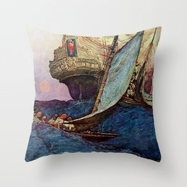 """Book of Pirates"" Cover by Howard Pyle Throw Pillow"