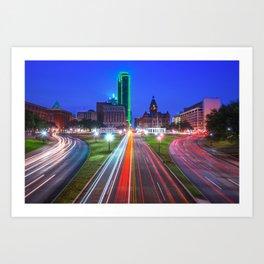 Dealey Plaza at Dawn - Dallas Texas Skyline Art Print