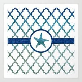 Starfish: Tropical Water Moroccan Pattern Art Print
