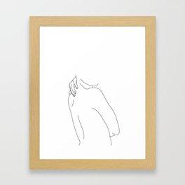 Hand on back line drawing - Isla Framed Art Print