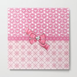 Girly Pink Hearts & Argyle Metal Print