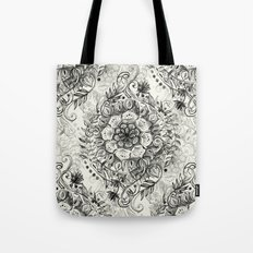 Messy Boho Floral in Charcoal and Cream  Tote Bag