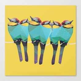 Low Poly Bee-eaters - Birds Canvas Print