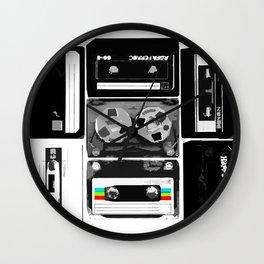 Retro Music Cassette Tapes - Black & White Wall Clock