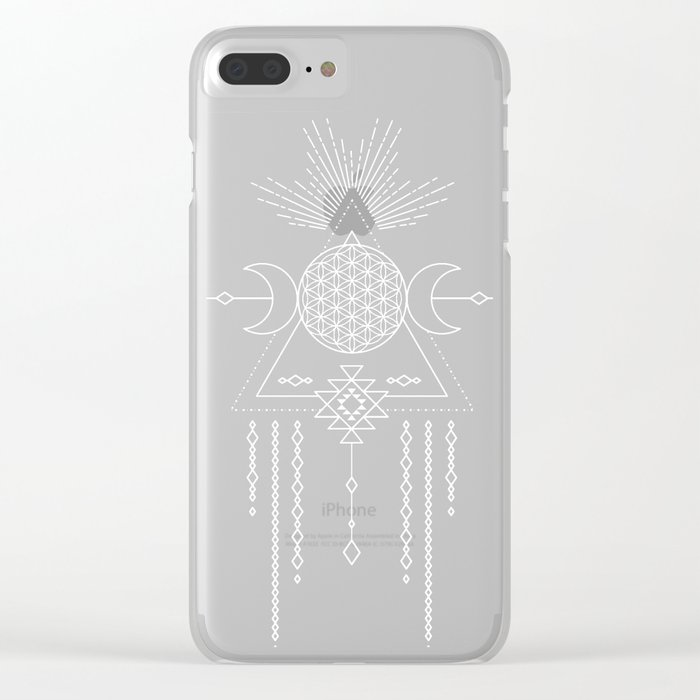 Mandala Flower of Life in Turquoise Stars Clear iPhone Case