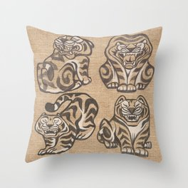 Stone Tigers Throw Pillow