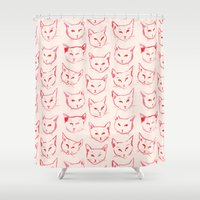 novelty Shower Curtains featuring Red Cat by leah reena goren