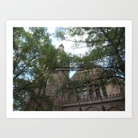 church through the trees Art Print
