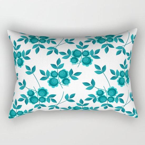Retro .Turquoise flowers on a white background . Rectangular Pillow