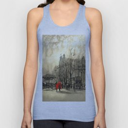 Couple in red walking on street of city Unisex Tank Top