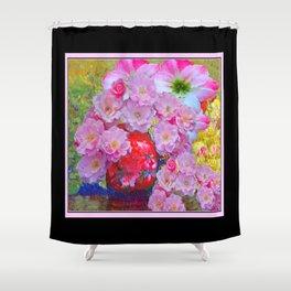 BLOOMING PINK ROSES IN RED VASE BLACK FRAME Shower Curtain