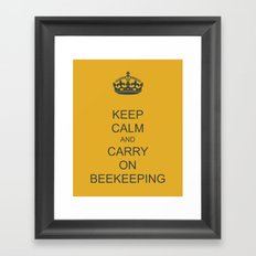 Keep Calm and Carry on Beekeeping Framed Art Print