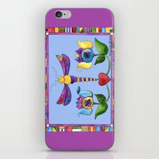 Dragonfly Love with Border iPhone & iPod Skin