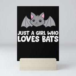 Bat Girl Just a Girl Who Loves Bats Mini Art Print