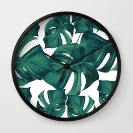 Monstera Leaves Pattern #3 #tropical #decor #art #society6 Wall Clock
